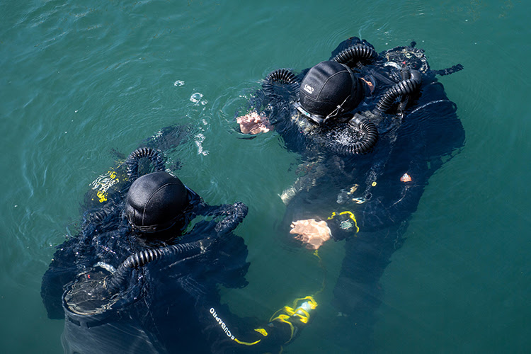 ODESA, Ukraine (July 2, 2019) — Service members from exercise Sea Breeze 2019 participating nations showcase their dive mission capabilities in Odesa, Ukraine, July 2, 2019. Sea Breeze is a U.S. and Ukraine co-hosted multinational maritime exercise held in the Black Sea, designed to enhance interoperability of participating nations and strengthen maritime security and peace within the region. (U.S. Navy photo by Mass Communication Specialist 3rd Class T. Logan Keown/Released)