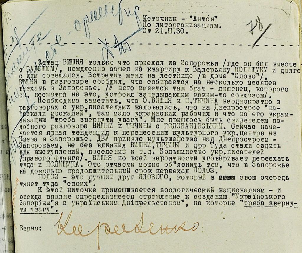 Донесення агента Антона на Остапа Вишню.З архівів КДБ