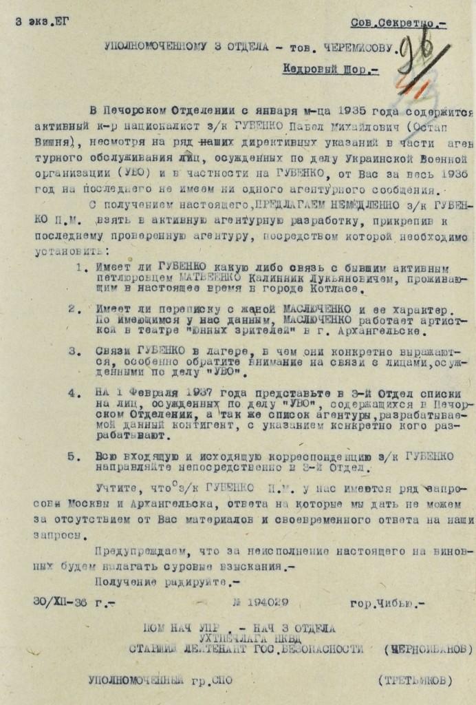 Лист НКВД з вимогою взяти Вишню у агентурну розробку