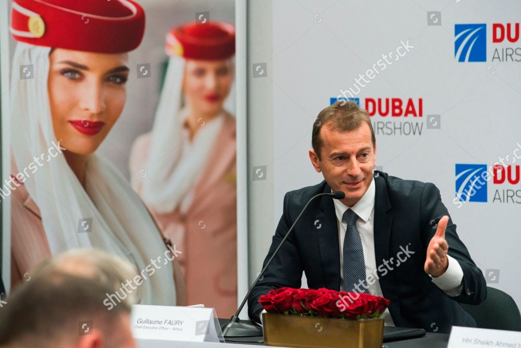 Mandatory Credit: Photo by Jon Gambrell/AP/Shutterstock (10478472h) Airbus CEO Guillaume Faury responds to a question during a news conference at the Dubai Airshow in Dubai, United Arab Emirates, . The Dubai-based airline Emirates announced Monday a new order for 20 additional wide-body Airbus A350-900 planes in a deal worth $6.4 billion. This brings the airline's total order for the aircraft to 50 Airbus A350s costing $16 billion at list price Emirates Airshow, Dubai, United Arab Emirates - 18 Nov 2019