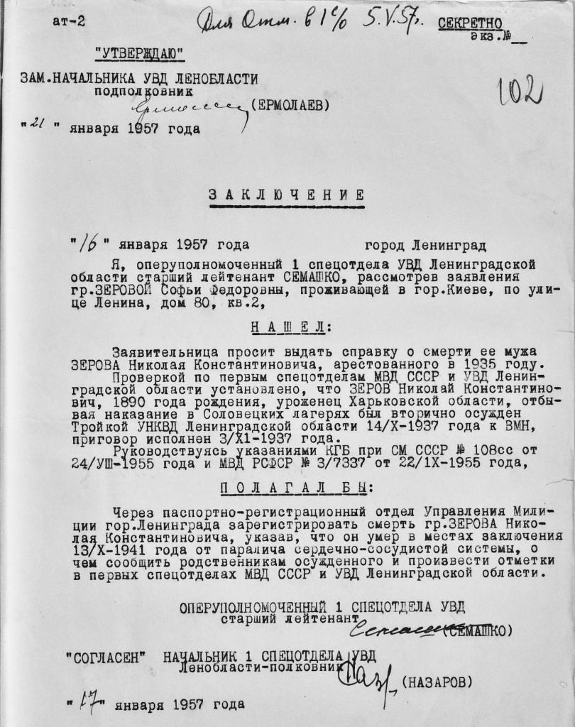 «Секретний» висновок про смерть Миколи Зерова